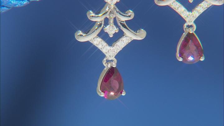 Enchanted Disney Mulan Earrings Rhodolite Garnet and White Diamond Rhodium Over Silver 1.10ctw