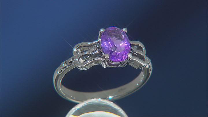 Enchanted Disney Villains Ursula Ring Amethyst and Black Diamond, Black Rhodium Over Silver 1.40ctw