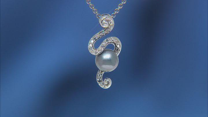 Enchanted Disney Ursula Pendant Cultured Freshwater Pearl & Diamond Black Rhodium Over Silver