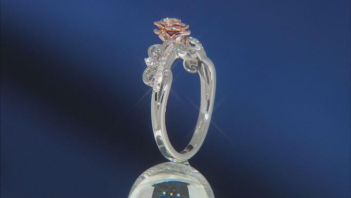 Enchanted Disney Belle White Diamond Rhodium & 14k Rose Gold Over Silver 0.10ctw