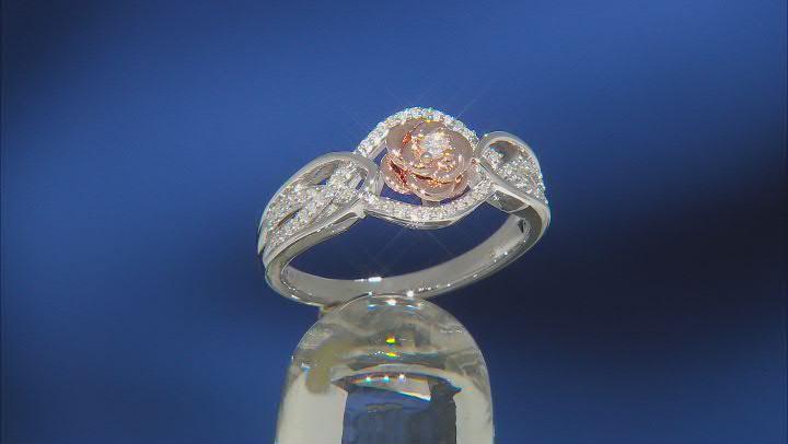 Enchanted Disney Belle Ring White Diamond Rhodium & 14k Rose Gold Over Silver 0.10ctw