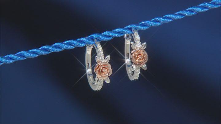 Enchanted Disney Belle Earrings White Diamond Rhodium & 14k Rose Gold Over Silver 0.15ctw