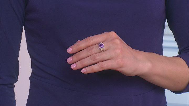 Enchanted Disney Fine Jewelry Ariel Ring Amethyst & White Diamond Rhodium Over Silver 1.65ctw
