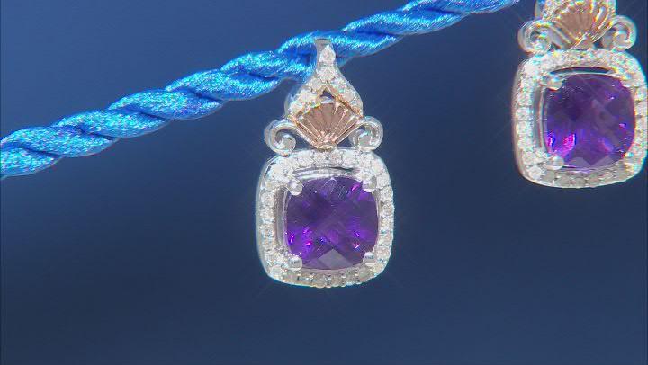 Enchanted Disney Fine Jewelry Ariel Earrings Amethyst & White Diamond Rhodium Over Silver 2.00ctw