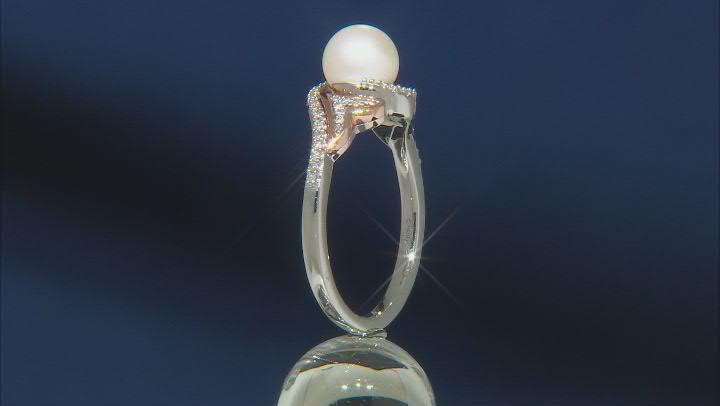 Enchanted Disney Ariel Ring Cultured Freshwater Pearl & Diamond Rhodium Over Silver 2.80ctw