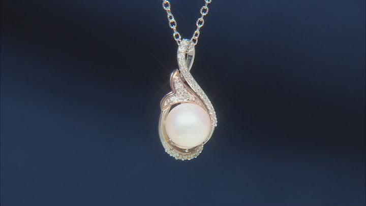 Enchanted Disney Ariel Pendant Cultured Freshwater Pearl & Diamond Rhodium Over Silver