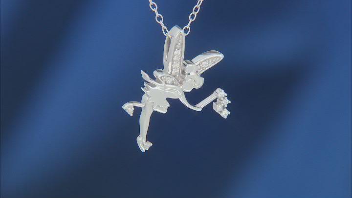 Enchanted Disney Fine Jewelry Tinker Bell Pendant White Diamond Rhodium Over Silver 0.10ctw