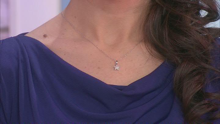 Enchanted Disney Fine Jewelry Tinker Bell Star Pendant White Diamond Rhodium Over Silver 0.15ctw