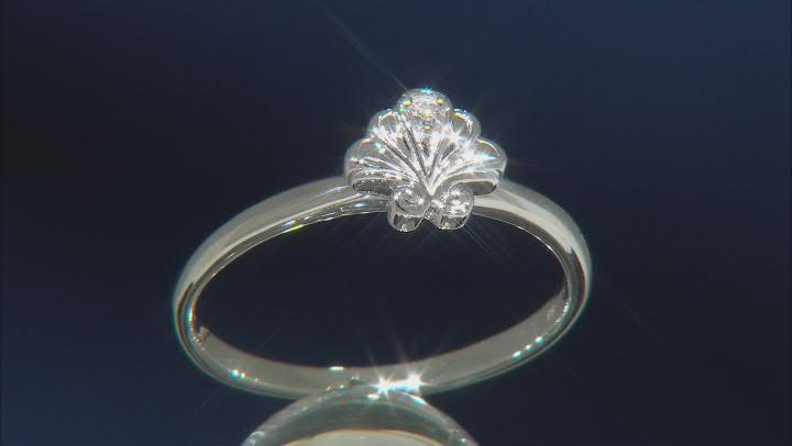Enchanted Disney Ariel Shell Ring White Diamond Accent 10k White Gold