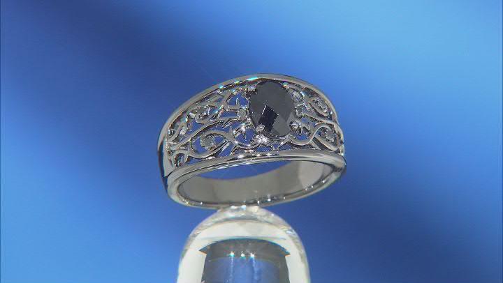 Enchanted Disney Villains Maleficent Ring Black Onyx & Black Diamond Black Rhodium Over Silver