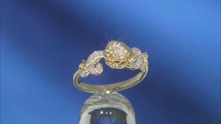 Enchanted Disney Floral Belle Ring Round White Diamond 10k Yellow Gold 0.15ctw