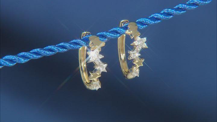 Enchanted Disney Tinker Bell Star Earrings White Diamond 10k Yellow Gold 0.10ctw
