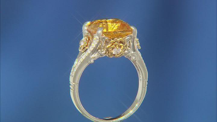 Enchanted Disney Belle Rose Ring White Diamond And Citrine 10k Two-Tone 5.30ctw