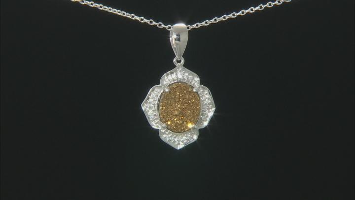 Golden Color Drusy Quartz Sterling Silver Pendant With Chain .15ctw