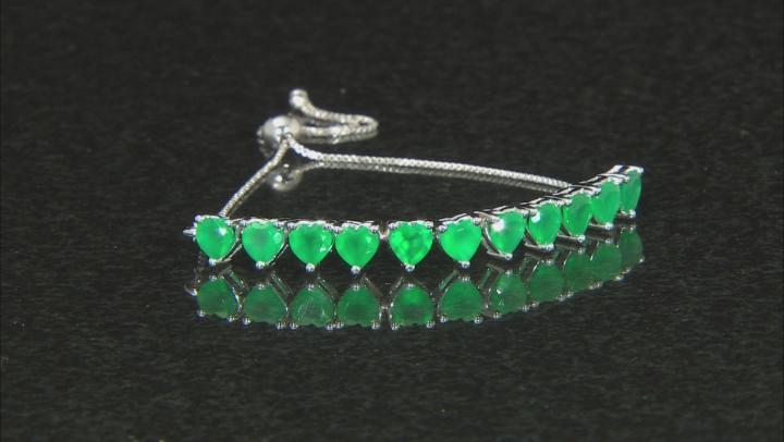 Green Onyx Sterling Silver Heart Shape Sliding Adjustable Bracelet