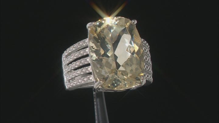 Yellow Labradorite Rhodium Over Sterling Silver Ring 9.35ct