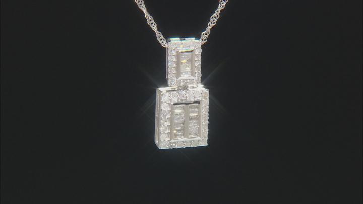 White Diamond 10K White Gold Pendant 0.56ctw