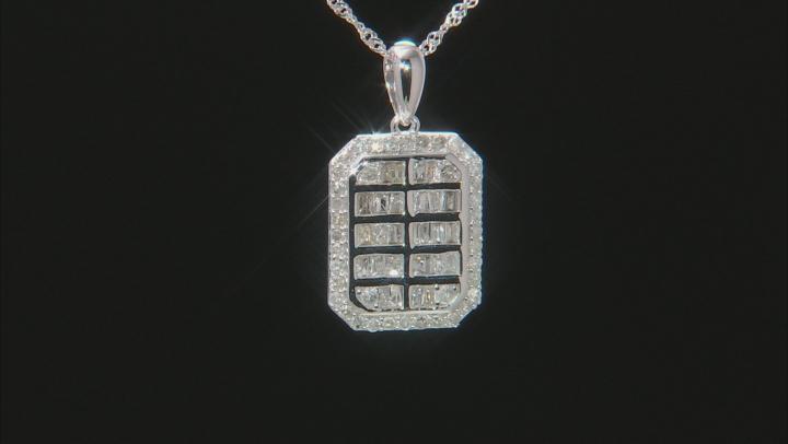 White Diamond 10K White Gold Pendant 0.76ctw