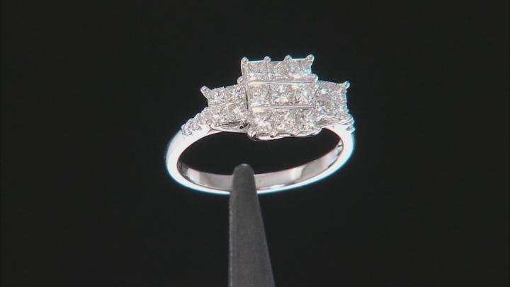 White Diamond 10K White Gold Ring 1.03ctw