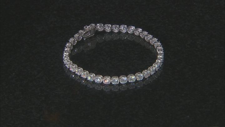 White Cubic Zirconia Rhodium Over Sterling Silver Tennis Bracelet 16.09ctw