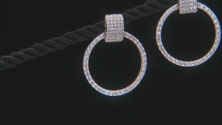 White Cubic Zirconia Rhodium Over Sterling Silver Hoop Earrings 3.65ctw