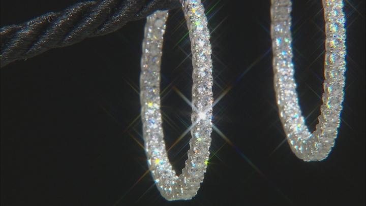 White Cubic Zirconia Rhodium Over Sterling Silver Hoop Earrings- Set of 3 6.22ctw