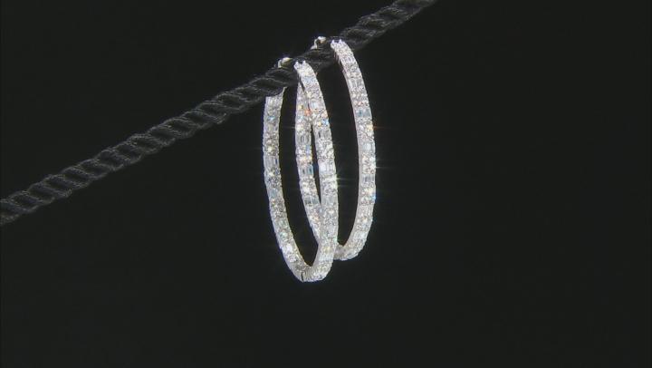 White Cubic Zirconia Rhodium Over Sterling Silver Hoop Earrings 6.24ctw