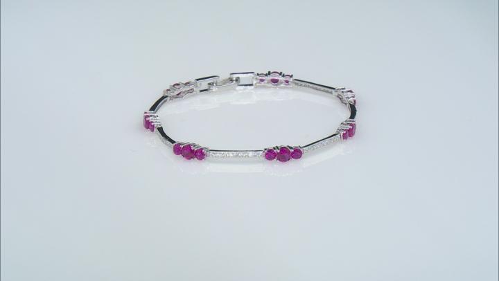 Green Nanocrystal/Cubic Zirconia/Lab BlUe Spinel/Lab Ruby Rhodium Over Sterling Bracelets 12.39ctw