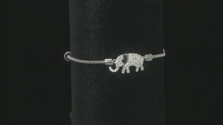 White Cubic Zirconia Rhodium Over Sterling Silver Elephant Adjustable Bracelet 1.69ctw