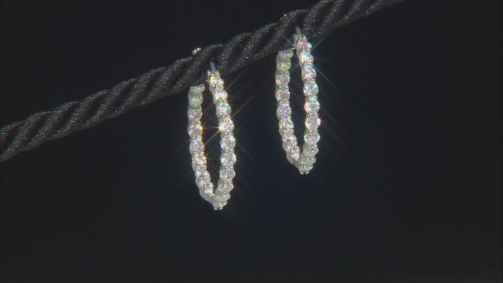 Aurora Borealis Cubic Zirconia Rhodium Over Sterling Silver Earrings 2.66ctw