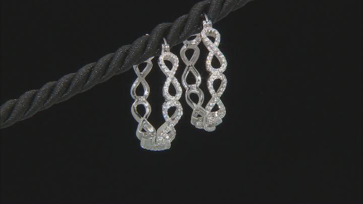White Cubic Zirconia Rhodium Over Sterling Silver Figure Eight Hoop Earrings 1.30ctw