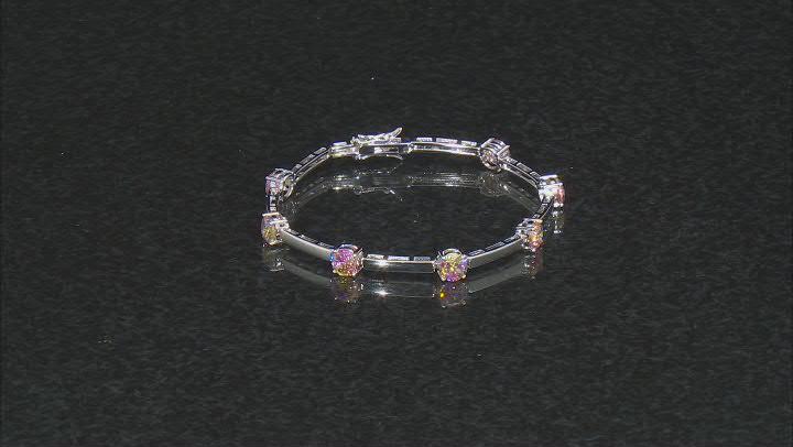 Multi Color Cubic Zirconia Rhodium Over Sterling Silver Bracelet. 5.50ctw
