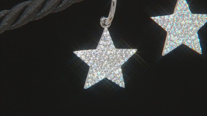 Cubic Zirconia Rhodium Over Silver Star Dangle Earrings  1.83ctw  (0.96ctw DEW)