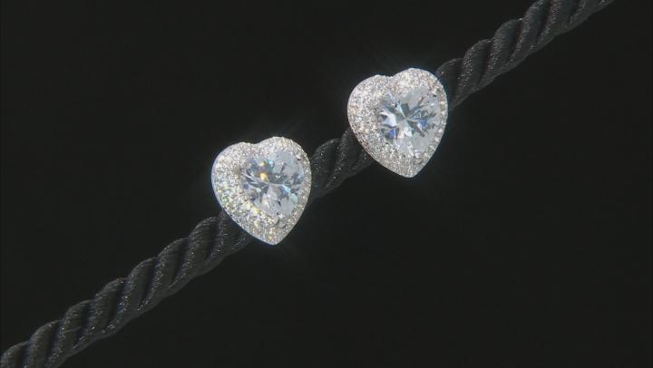 White Cubic Zirconia Rhodium Over Silver Heart Shape Earrings.  (4.41ctw DEW)