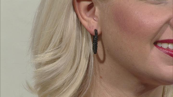 Black Spinel Rhodium Over Sterling Silver Hoop Earrings 4.50ctw