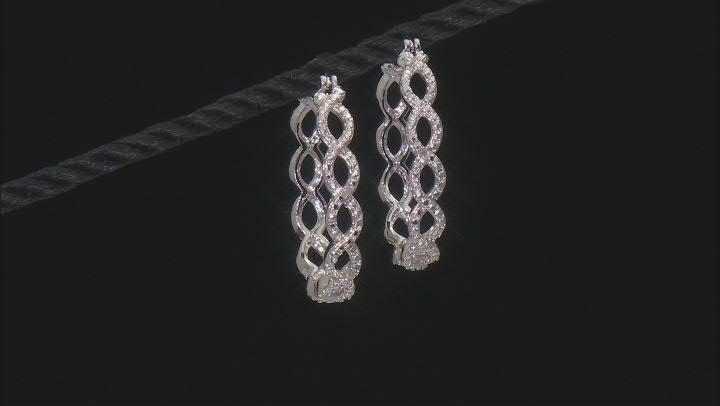 Diamond Accent Rhodium Over Brass Hoop Earrings