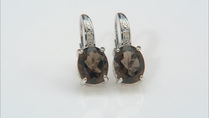 Smoky Quartz Rhodium Over Sterling Silver Dangle Earrings 4.50ctw