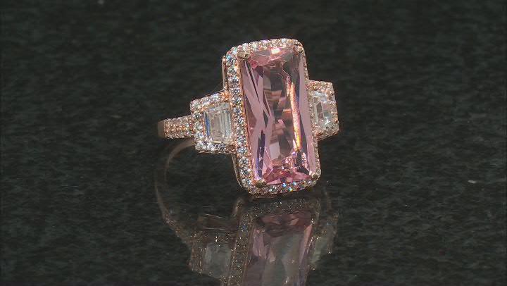 Morganite Simulant & White Cubic Zirconia 18K Rose Gold Over Silver Center Design Ring