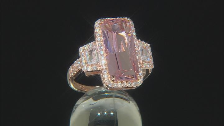 Peach Nanocrystal & White Cubic Zirconia 18K Rose Gold Over Silver Center Design Ring