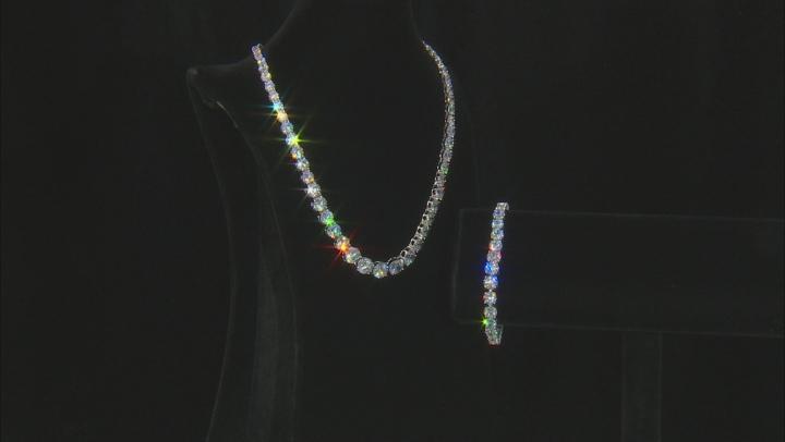 White Cubic Zirconia Rhodium Over Sterling Silver Necklace & Bracelet Set 100.00ctw