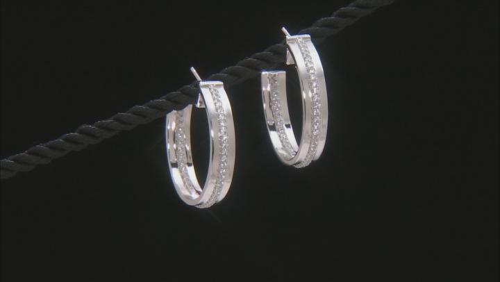 White Cubic Zirconia Rhodium Over Sterling Silver Hoop Earrings 2.10ctw