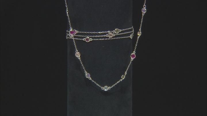 Multicolor Cubic Zirconia Rhodium Over Sterling Silver Multi Strand Bracelet & Necklace Set 8.20ctw