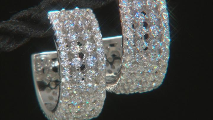 White Cubic Zirconia Rhodium Over Sterling Silver Hoop Earrings 1.35ctw