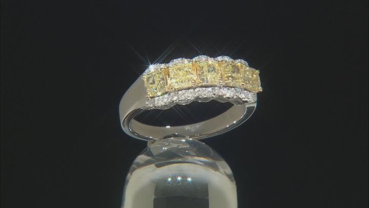 Yellow And White Diamond 14k White Gold Ring 1.65ctw