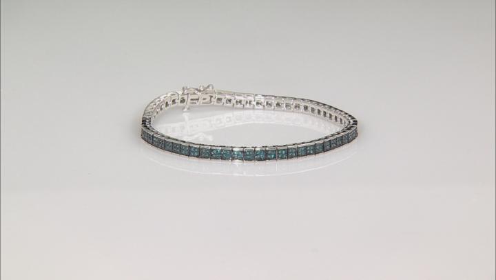 Blue Diamond Rhodium Over Sterling Silver Bracelet 1.00ctw