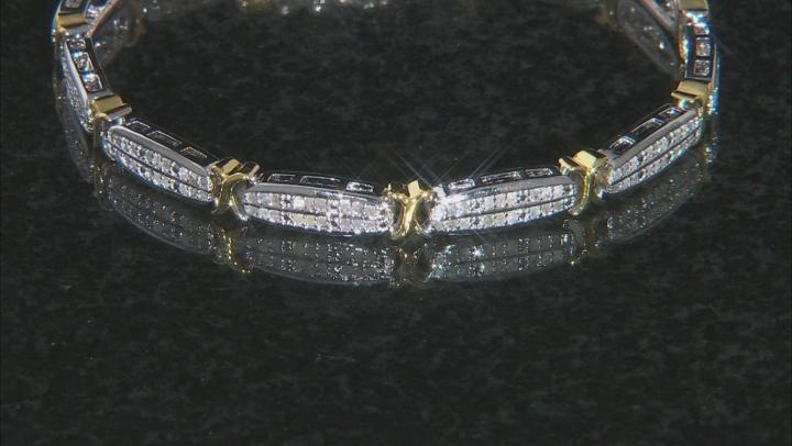 Diamond Rhodium And 18k Yellow Gold Over Brass 0.95ctw
