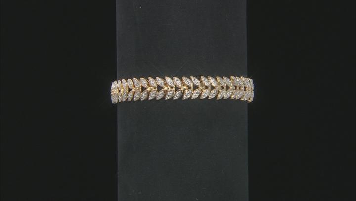 White Diamond 14k Yellow Gold Over Brass 3 Piece Bracelet Set Diamond Accent
