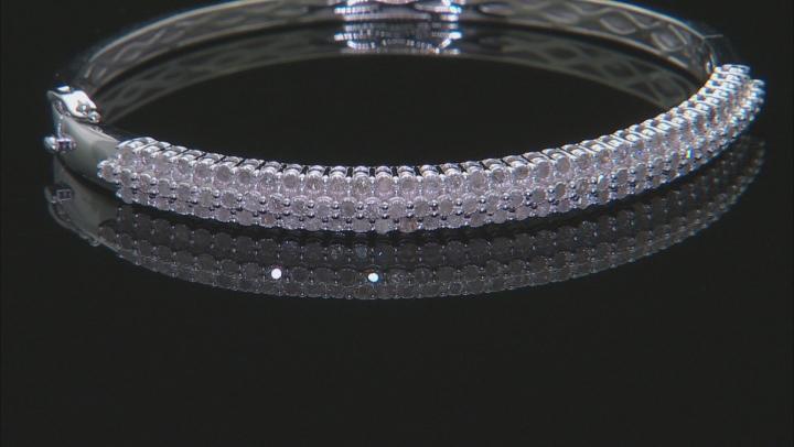 White Diamond Rhodium Over Sterling Silver Bangle Bracelet 1.00ctw