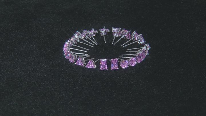 Pink Cubic Zirconia Stud Earring Set Of 12 18.76ctw
