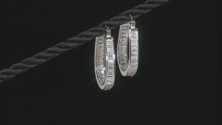 Cubic Zirconia Rhodium Over Sterling Silver Hoop Earrings 4.80ctw